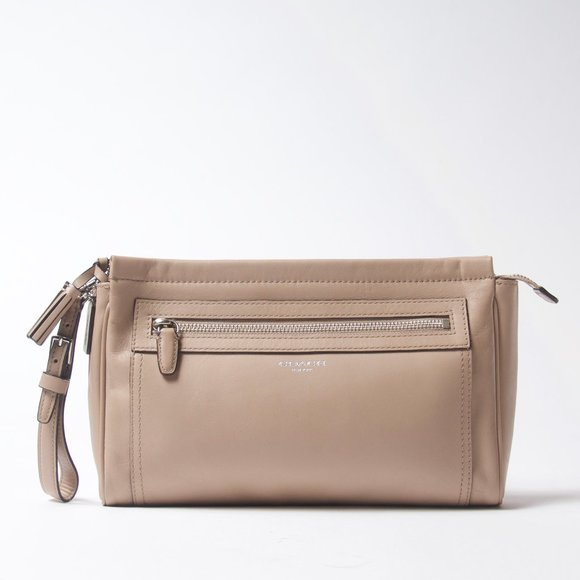 Coach Nude Leather Clutch with Wrist Strap